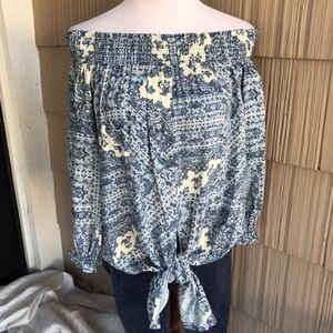 NWT Love Stitch off the shoulder knot blouse